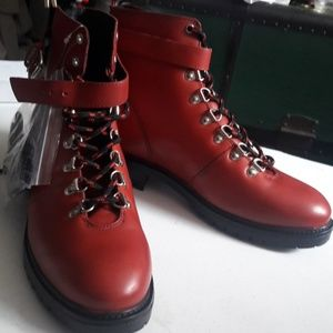 Deep Red Leather Hikers sz 10